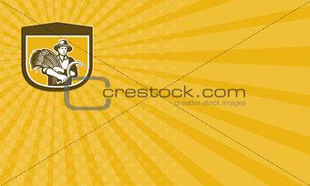 Business card Wheat Farmer With Scythe and Crop Harvest Retro