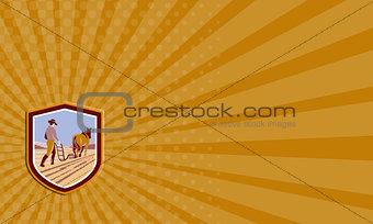 Business card Farmer and Horse Plowing Farm Field Crest Retro