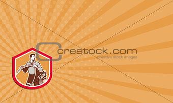 Business card Organic Farmer Holding Scythe Wheat Shield