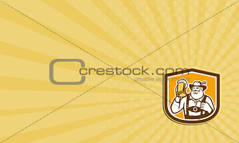 Business card Bavarian Beer Drinker Mug Shield Retro