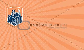 Business card Farmer Driving Tractor Plowing Farm Shield Retro