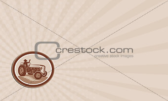 Business card Vintage Farm Tractor Driver Waving Circle Retro