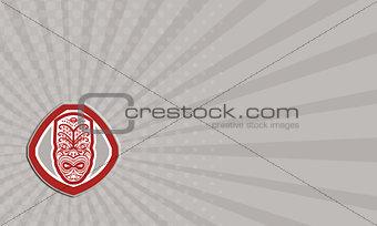 Business card Maori Mask Face Front Shield Retro