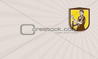Business card Mason Masonry Worker Trowel Shield Retro