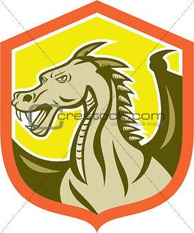 Green Dragon Head Shield Cartoon