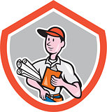 Builder Carpenter With Plans Shield Cartoon