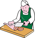 Butcher Chopping Meat Cartoon