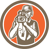 Cameraman Holding Movie Video Camera Circle