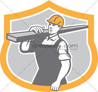 Carpenter Carry Lumber Shield Retro