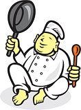 Fat Buddha Chef Cook Sitting Cartoon