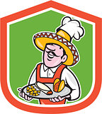 Mexican Chef Cook Shield Cartoon