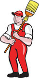 Janitor Cleaner Holding Broom Standing Cartoon