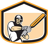 Cricket Player Batsman Batting Shield Cartoon