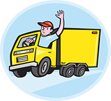 Delivery Truck Driver Waving Cartoon