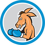 Donkey Boxing Side View Circle Cartoon