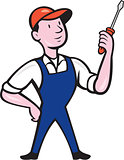 Electrician Standing Holding Screwdriver Cartoon