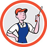 Electrician Standing Screwdriver Circle Cartoon