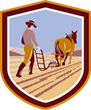 Farmer and Horse Plowing Farm Field Crest Retro