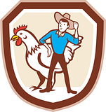 Chicken Farmer Feeder Shield Cartoon
