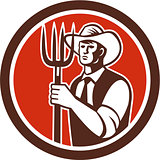 Farmer Holding Pitchfork Circle Retro