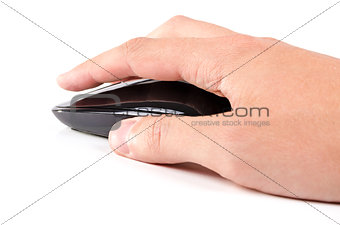 Black touch wireless modern computer mouse in hand isolated