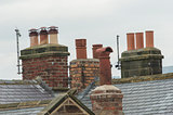 Chimneys on rooftops
