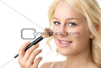 closeup makeup applying