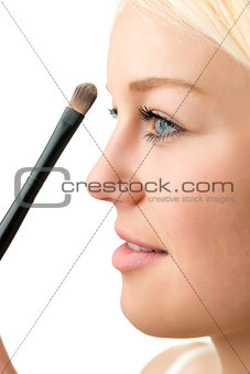 closeup makeup applying