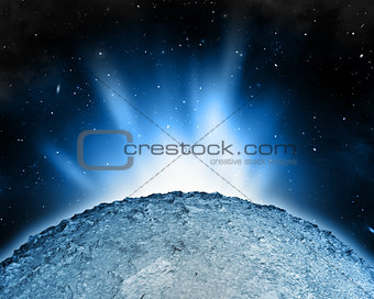 Abstract night sky scene with planet