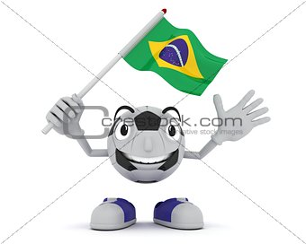 Football Mascot Waving Flag