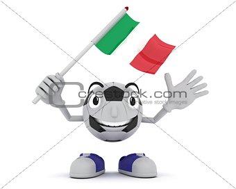 Football Mascot Waving Flag