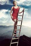 dreamy girl on ladder