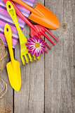 Garden tools with flower