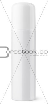 Closed white aerosol spray metal bottle can