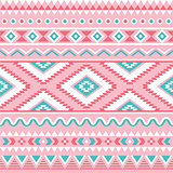 Tribal seamless pattern, Aztec pink and green background