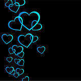 Floating blue hearts background