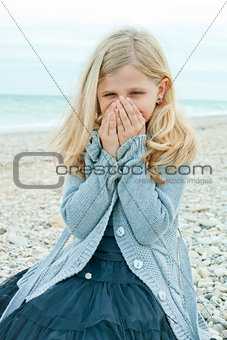 pretty girl at the autumn beach