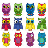 Set of sixteen owls