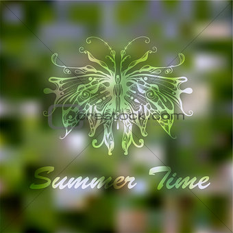 Vector Hand Drawn Butterfly on abstract Summer Green Background