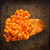 rustic british food baked beans on toast