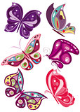vector butterflies in diferents colors 2