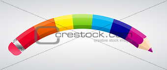 Rainbow Pencil Vector Illustration
