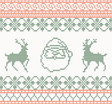 Knitted pattern with santa claus and deer