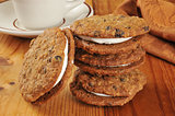 Cream filled oatmeal molasses cookies