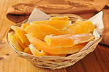 Basket of dried mango slices