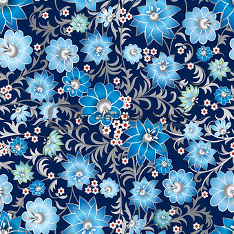 abstract seamless floral ornament on dark background