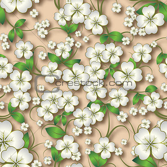 abstract seamless floral background with spring ornament on beig