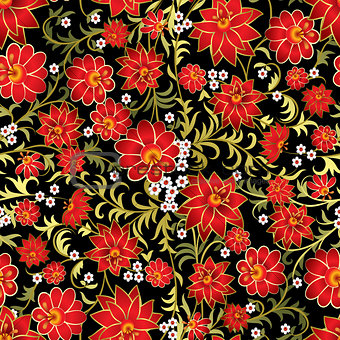 abstract seamless floral ornament on black background