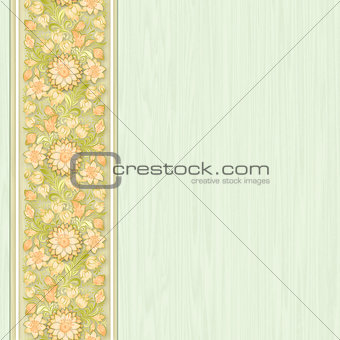 green wallpaper with floral ornament