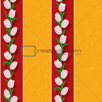 abstract grunge seamless background with tulips